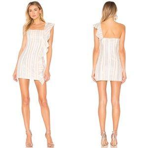 Tularosa Cait Striped Ruffle One Shoulder Dress